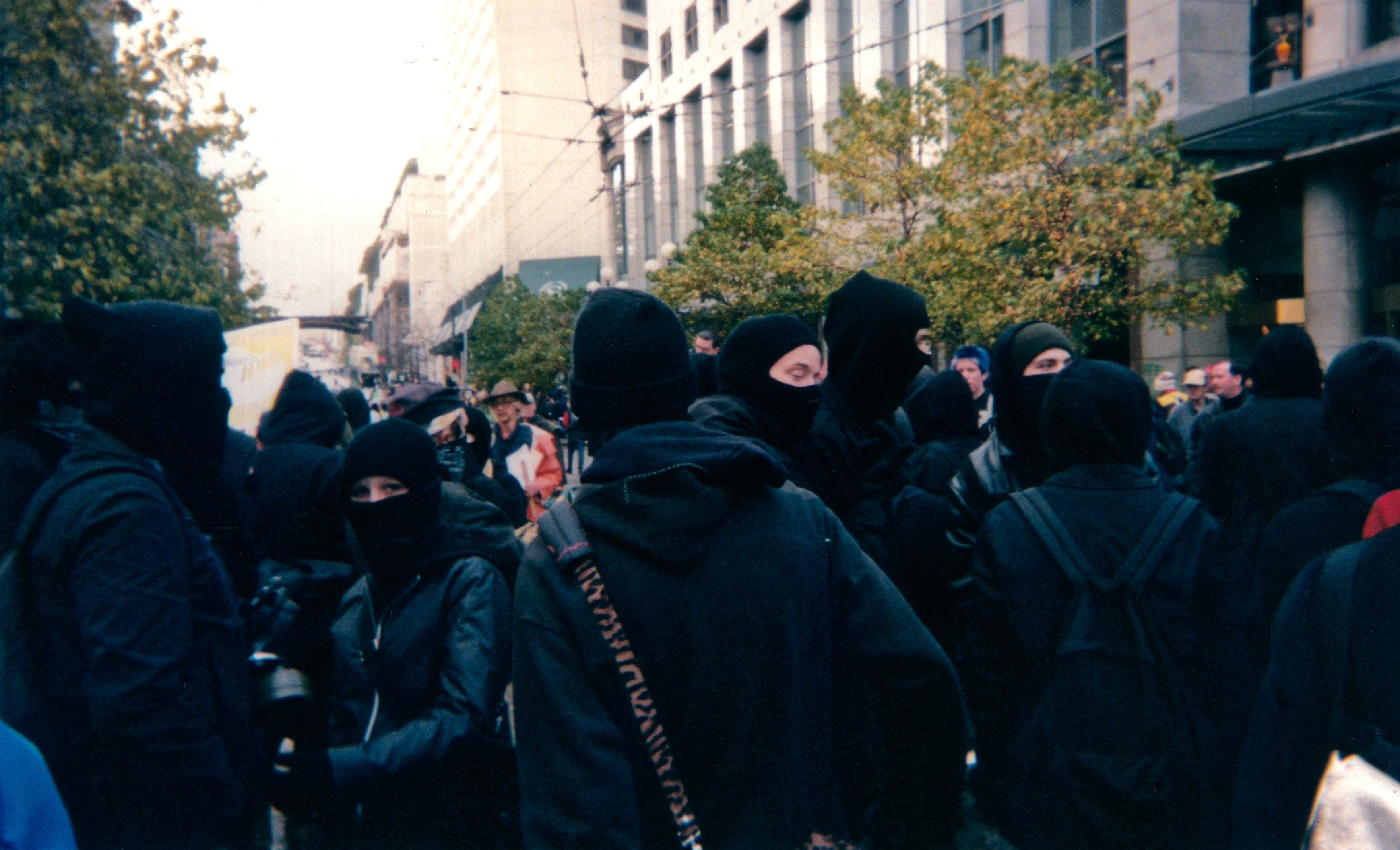 Black Bloc anarchists at the 1999 protest against the World Trade Organization in Seattle.