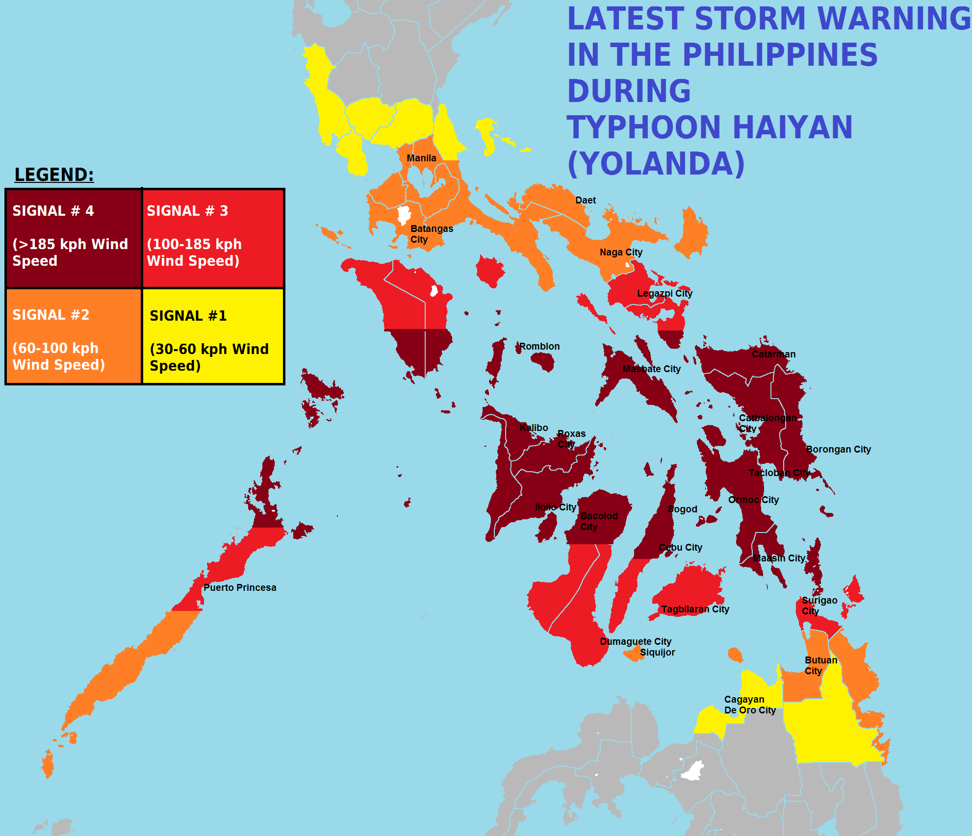 PSWS Map in the Philippines during the passage of Typhoon Haiyan (Yolanda).