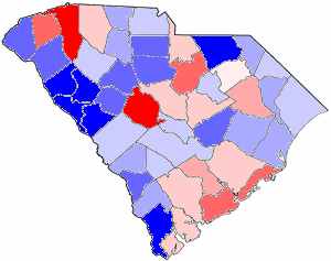 1974 South Carolina gubernatorial election map, by percentile by county. .mw-parser-output .legend{page-break-inside:avoid;break-inside:avoid-column}.mw-parser-output .legend-color{display:inline-block;min-width:1.25em;height:1.25em;line-height:1.25;margin:1px 0;text-align:center;border:1px solid black;background-color:transparent;color:black}.mw-parser-output .legend-text{}  65+% won by Edwards   60%-64% won by Edwards   55%-59% won by Edwards   50%-54% won by Edwards   <50% won by Edwards   50%-54% won by Dorn   55%-59% won by Dorn   60%-64% won by Dorn   65+% won by Dorn