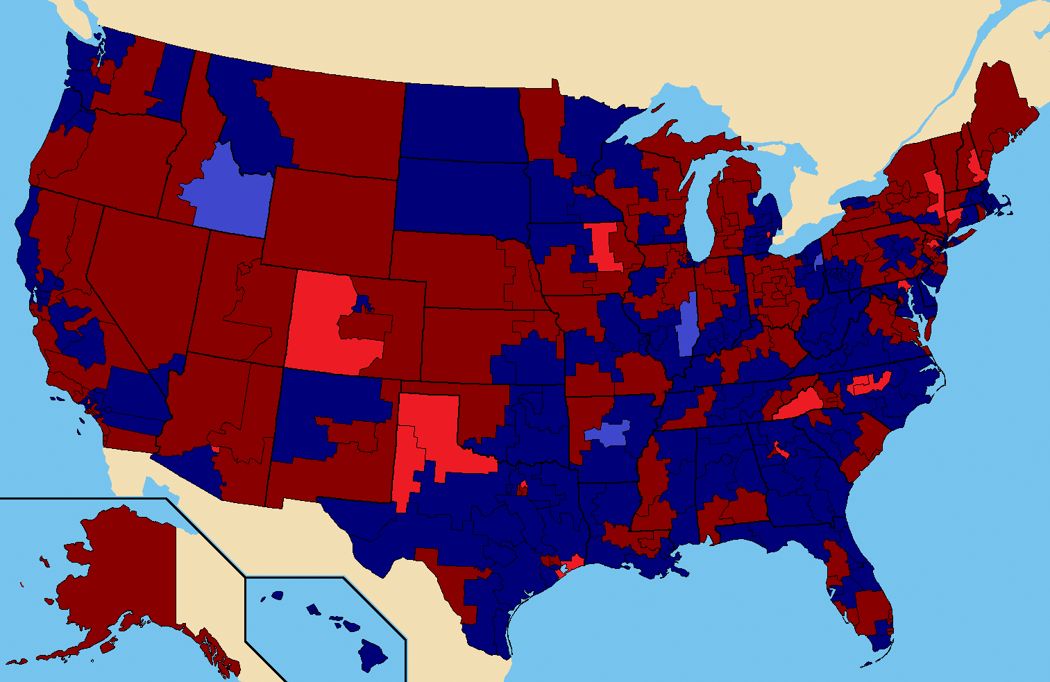 1984 United States presidential election results by county [1513 x ...