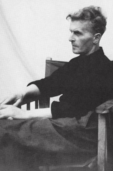 One of the last photographs taken of Wittgenstein, in the garden of Georg Henrik von Wrights' home in Cambridge, Summer 1950; Wittgenstein had taken the sheet from his bed and draped it behind him