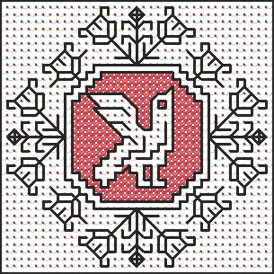 creative works in which the pattern is in plain linen and the ground is filled with long-armed cross stitch in red or other colors