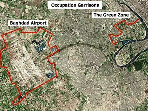 Aerial view of the Green Zone, Baghdad International Airport, and the contiguous Victory Base Complex in Baghdad Baghdad - airport and green zone.jpg