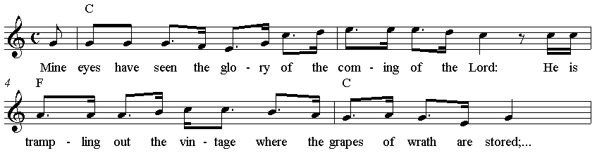 """The Battle Hymn of the Republic"" melody beginning"