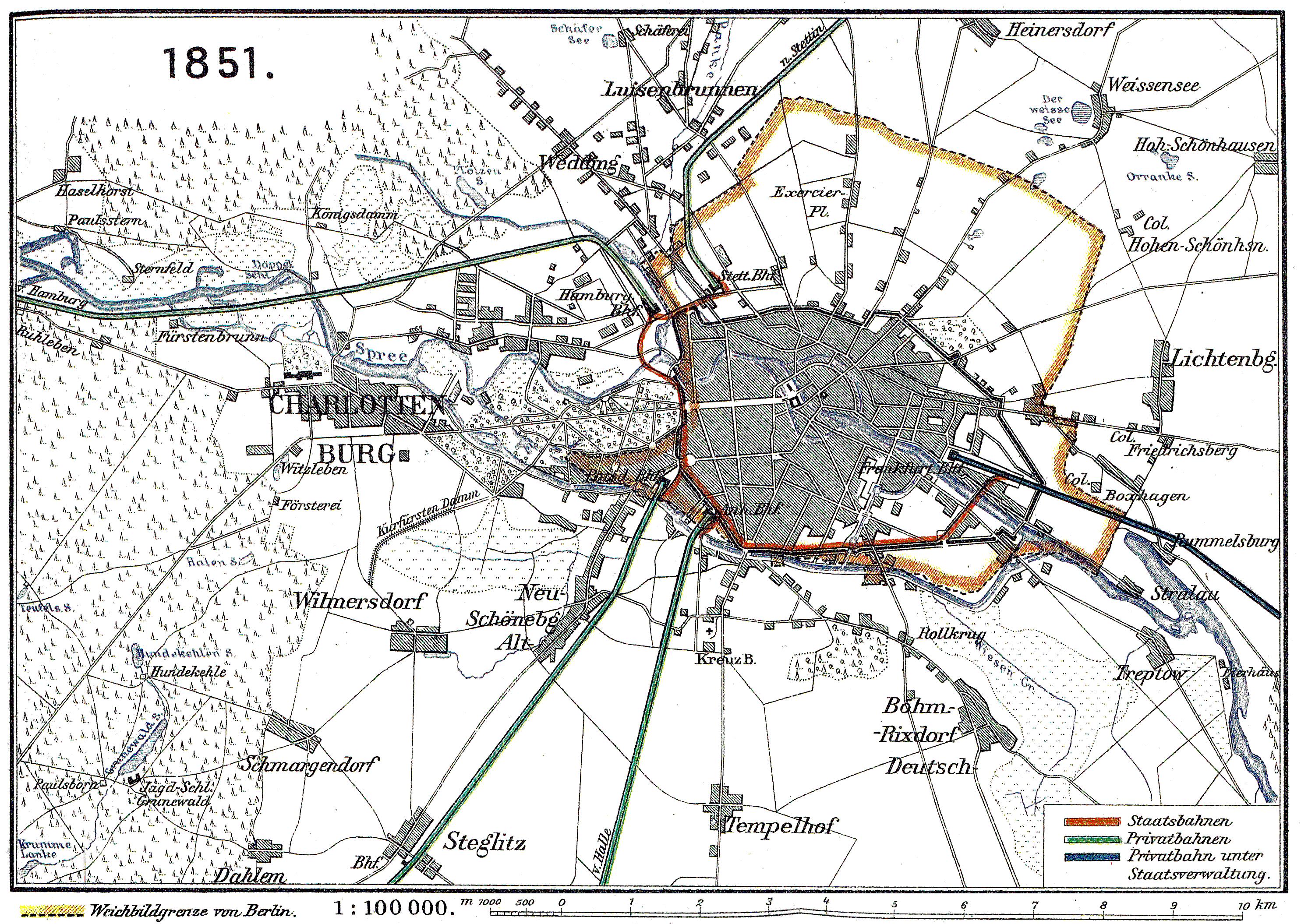 Karte der Berliner Verbindungsbahn, Plan von 1851