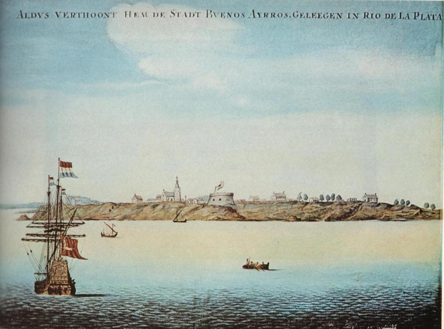 Primera vista conocida de Buenos Aires, pintada hacia 1628 por un holandés.