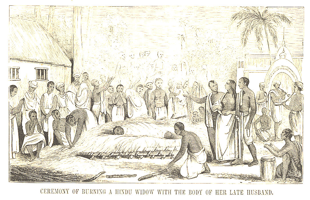 Ceremony of Burning a Hindu Widow with the Body of her Late Husband , from Pictorial History of China and India, 1851.