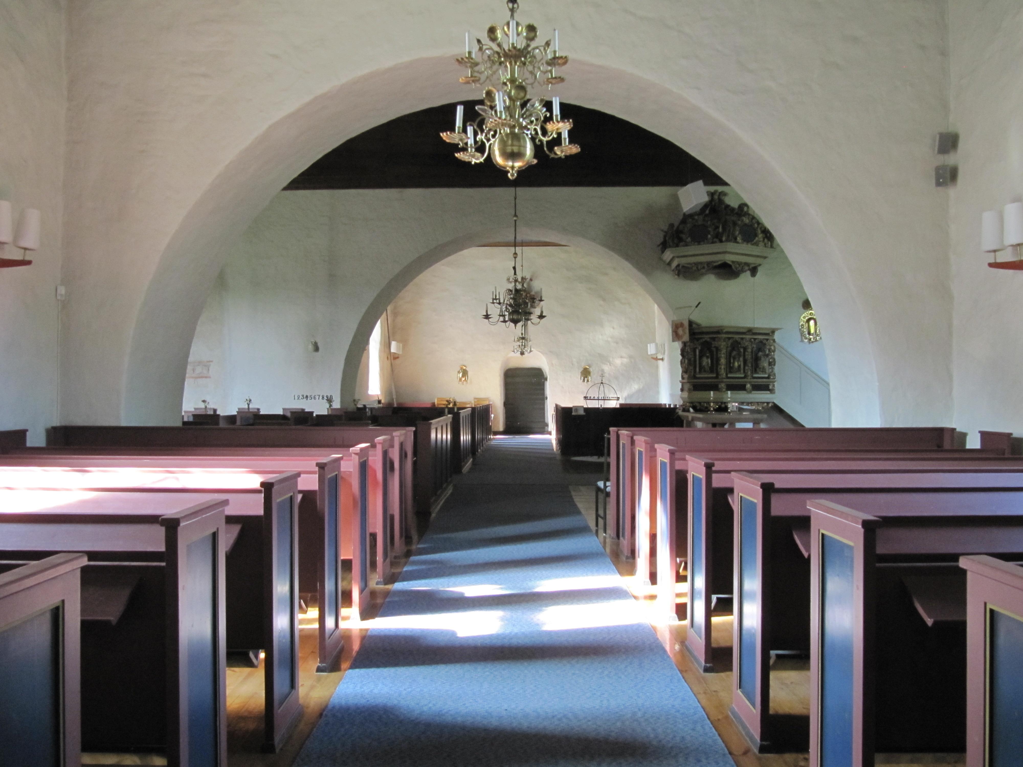 Byarums kyrka Kalkmlning, sdra vggen. Fre - Alamy