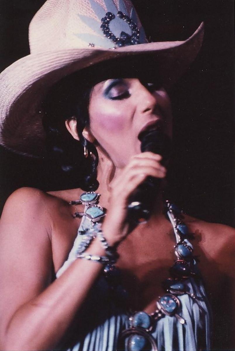 Cher performing in Las Vegas, 1981