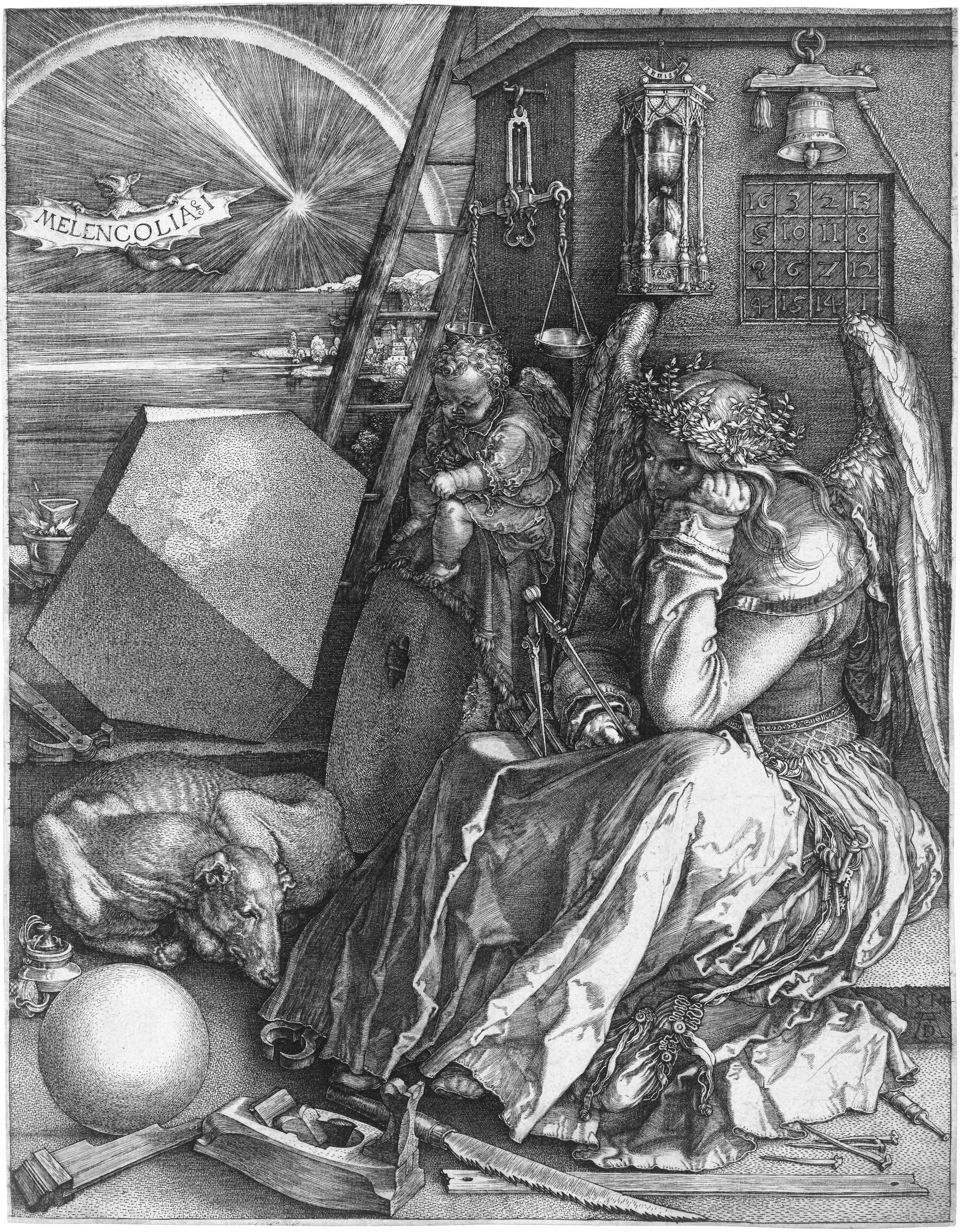 MELANCOLÍA I [grabado con cuadrado mágico, axis mundi, compás y ...