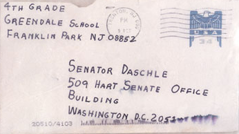 Picture of the front of an addressed envelope to Senator Daschle.
