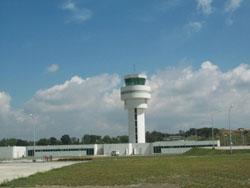 White air-traffic control tower