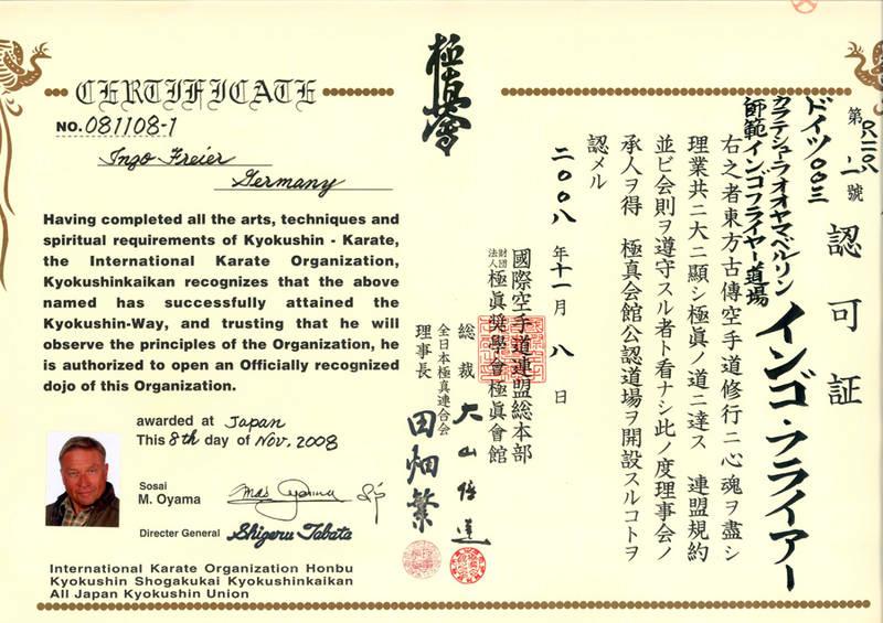 File:Dojo Zertifikat der International Karate Organization Honbu ...