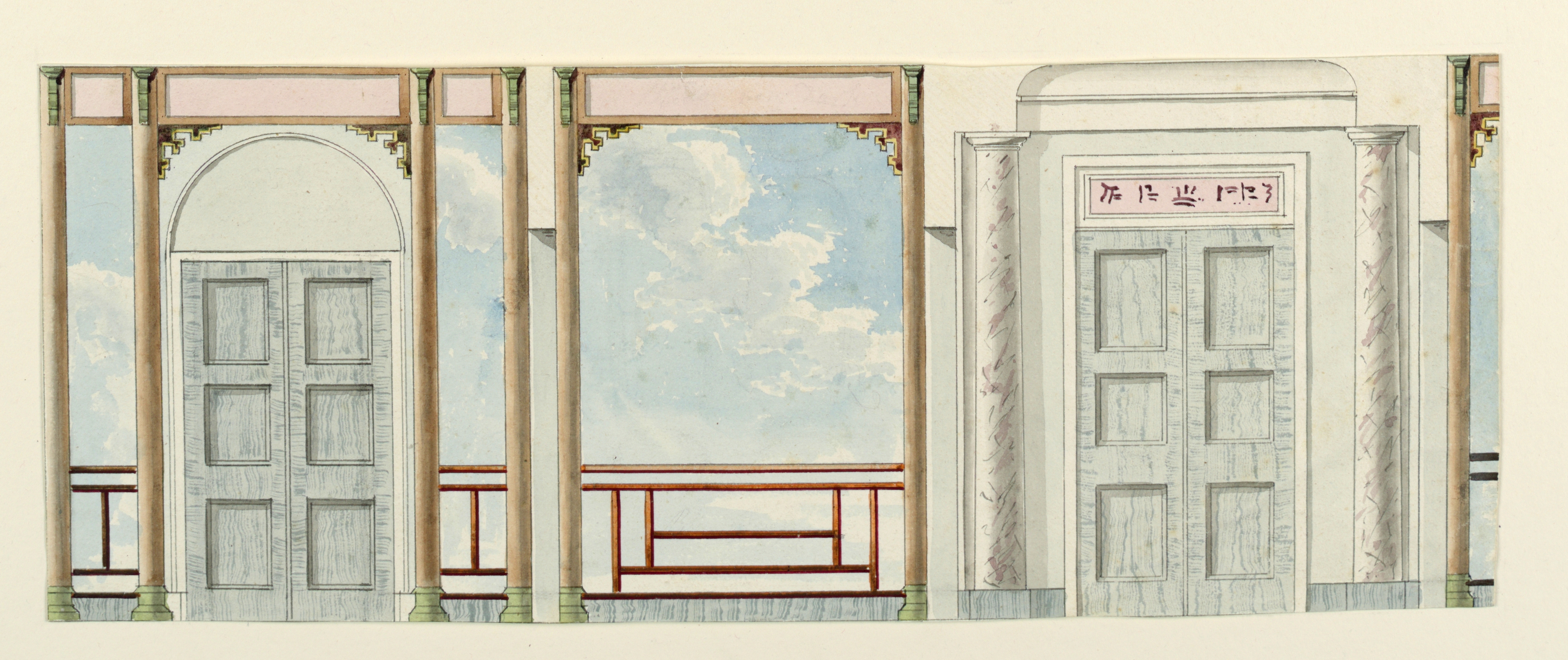 File:Drawing, Wall Decoration And Door With Columns, Royal Pavilion,  Brighton,
