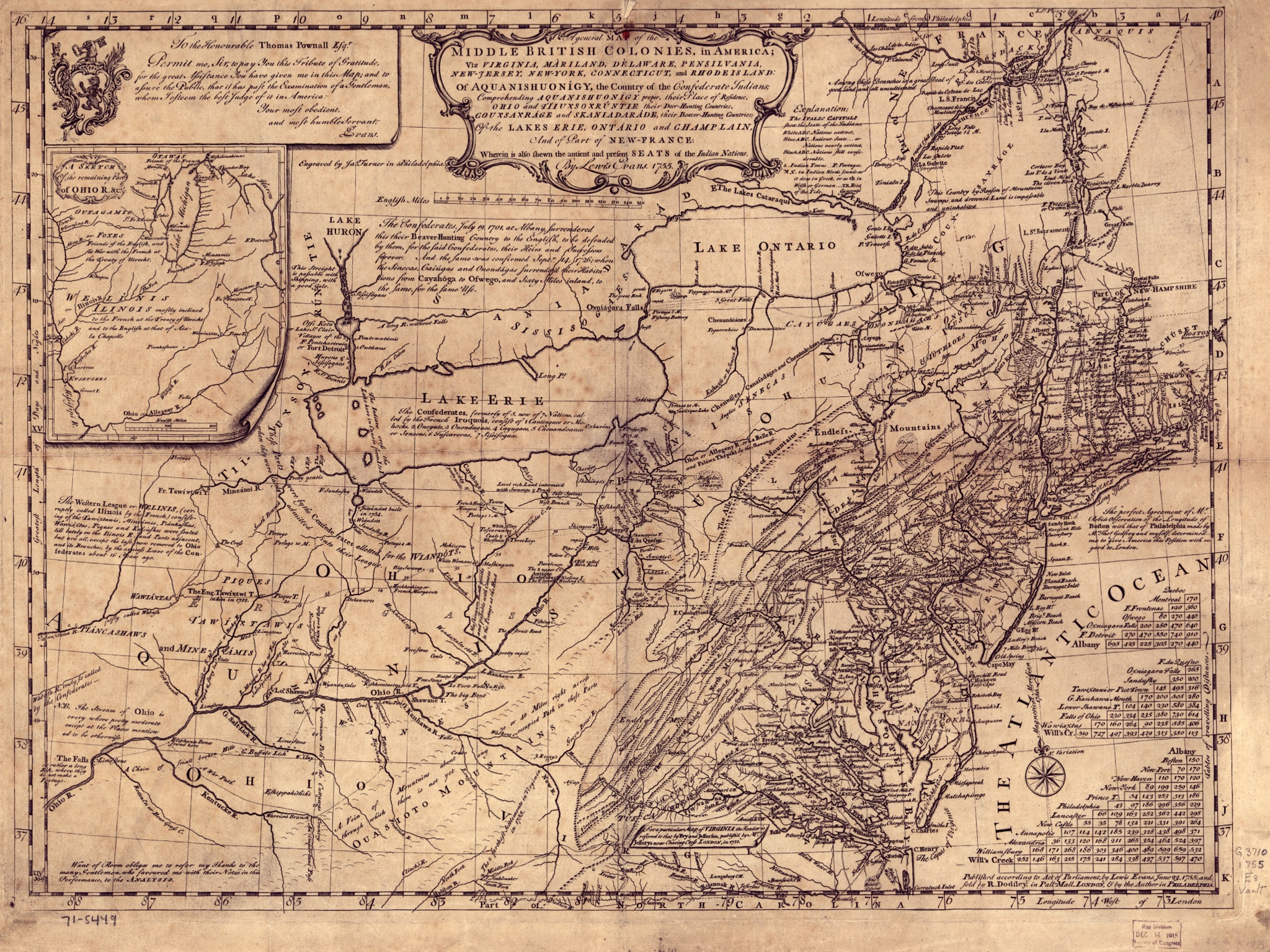 Evans' ''General Map of the Middle British Colonies in America'', published in 1755, was made in collaboration with [[Thomas Pownall