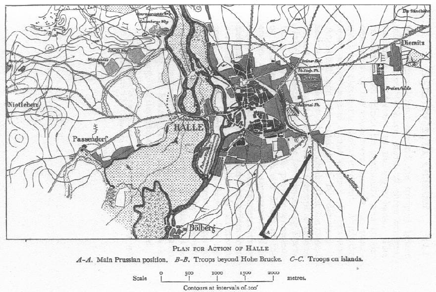 Action of Halle map by Francis Loraine Petre, 1907 F L Petre Battle of Halle Map.JPG