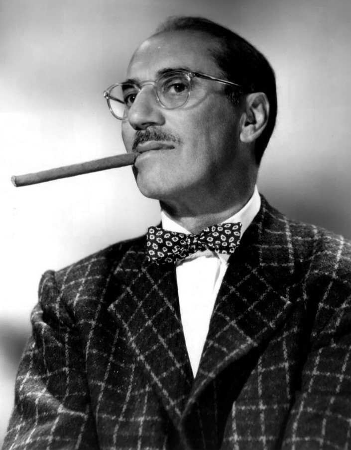 1958 Publicity photo of Groucho Marx from the television program You Bet Your Life.  NBC Television-NBC Photo/Photographer:  Elmer Holloway