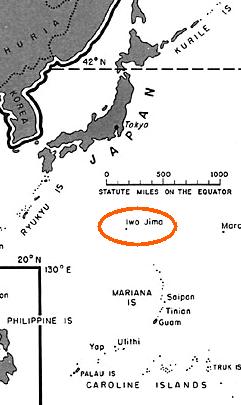 Carte montrant Iwo Jima et le Japon
