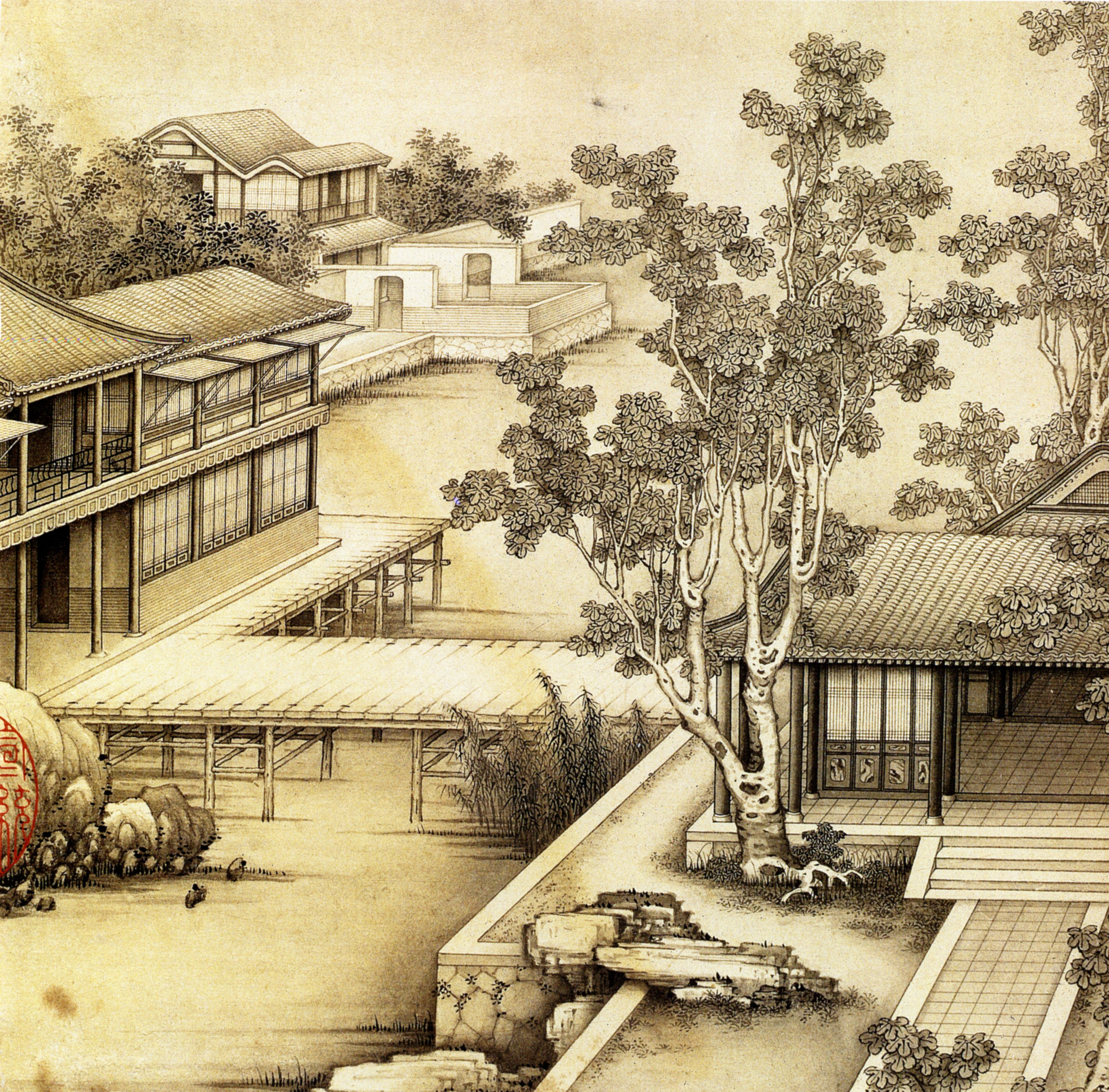 "Jiao Bingzhen (焦秉貞) – Leaf 2 from the painter's album entitled ""Landscapes"" (山水) [3280 × 3232]"