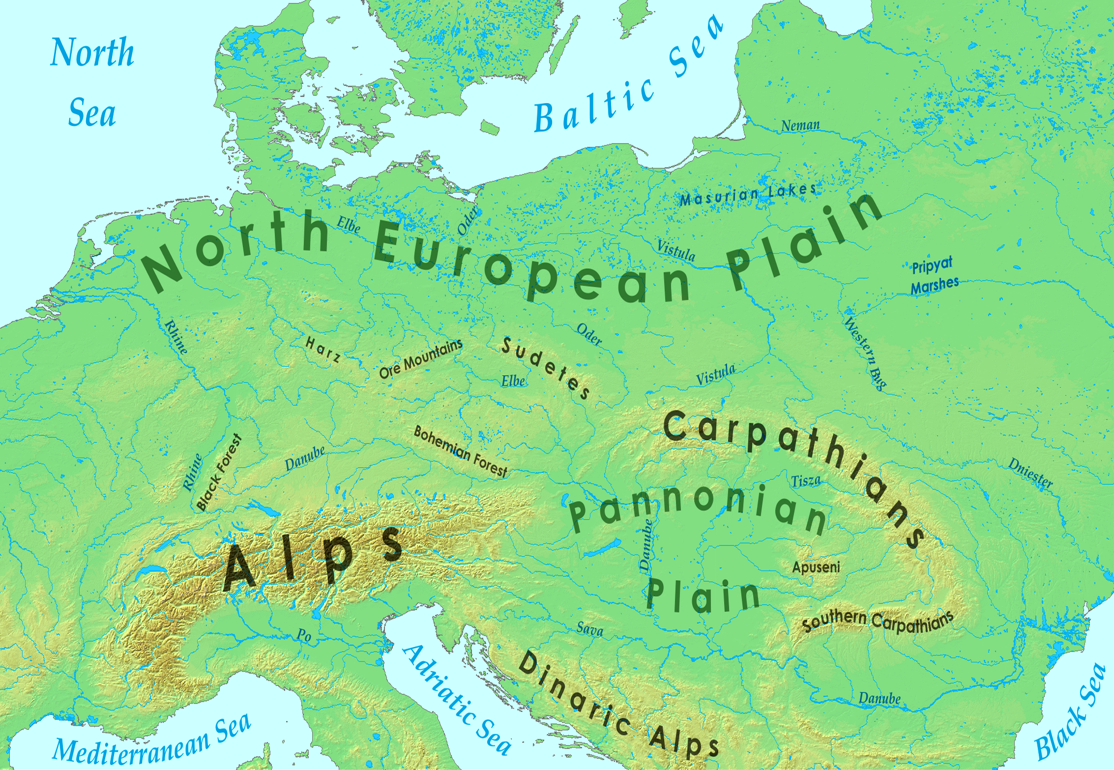 Central Europe Wikipedia – Geographical Map of Eastern Europe