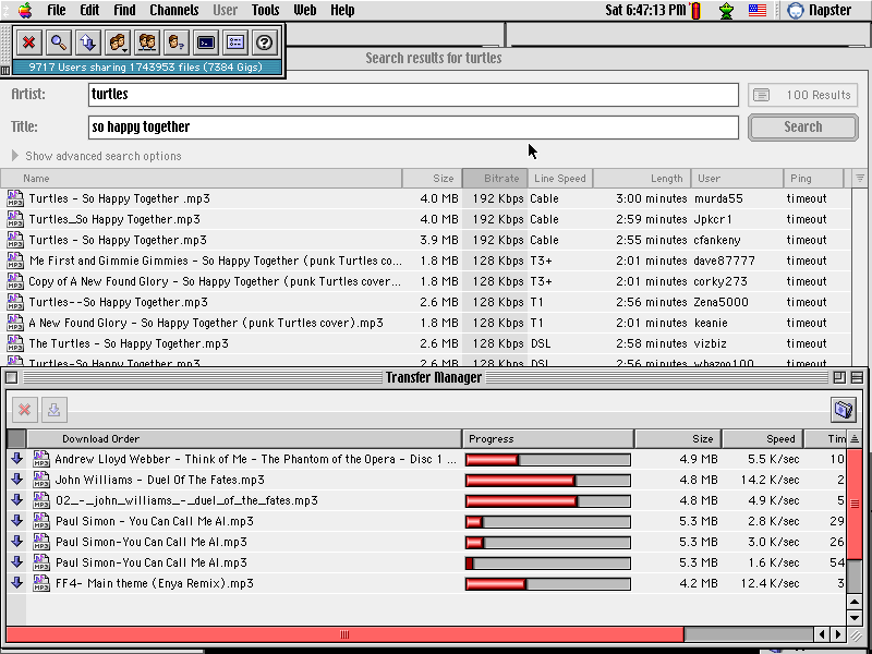 a history of napster a kind of mp3 sharing software Sent his request to napster the software then the file-sharing service even as napster users mp3 is a computer software compression.