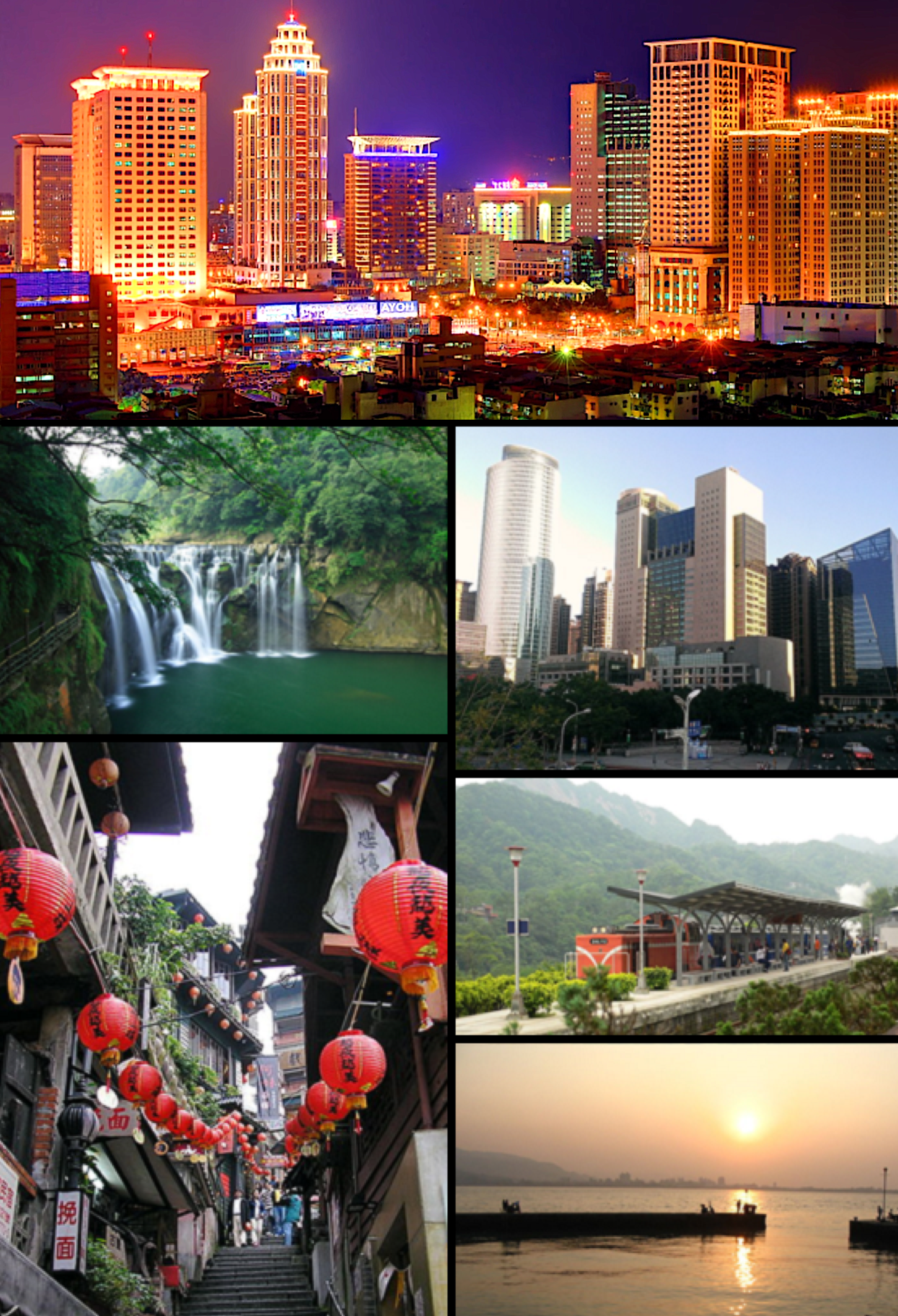 Clockwise from top: New Taipei Bridge, Banqiao District, Pingxi Line, Tamsui River, Jiufen, Shifen waterfall