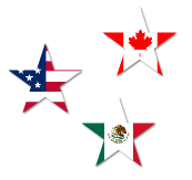 Stars representing the 3 North American countr...