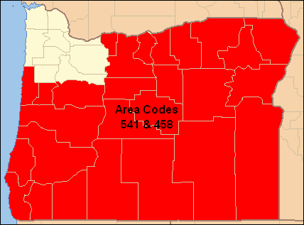 Area Codes 541 And 458 Wikipedia