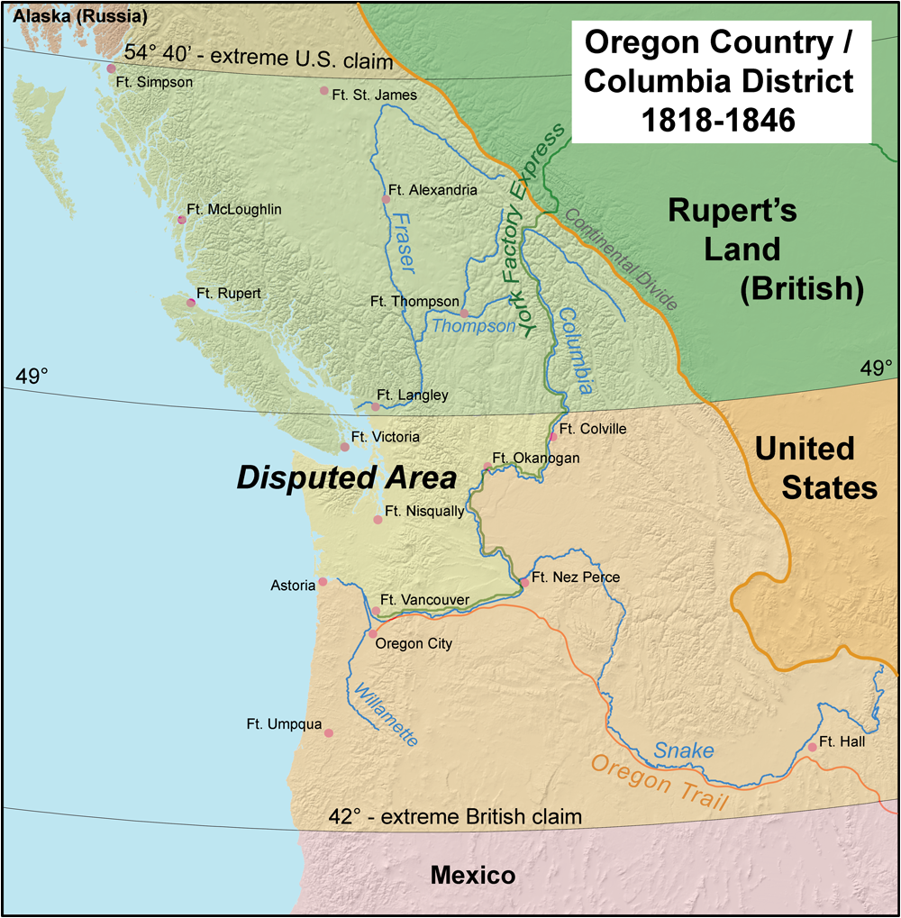 Oregon Boundary Dispute Wikipedia - Brits label us map 2015