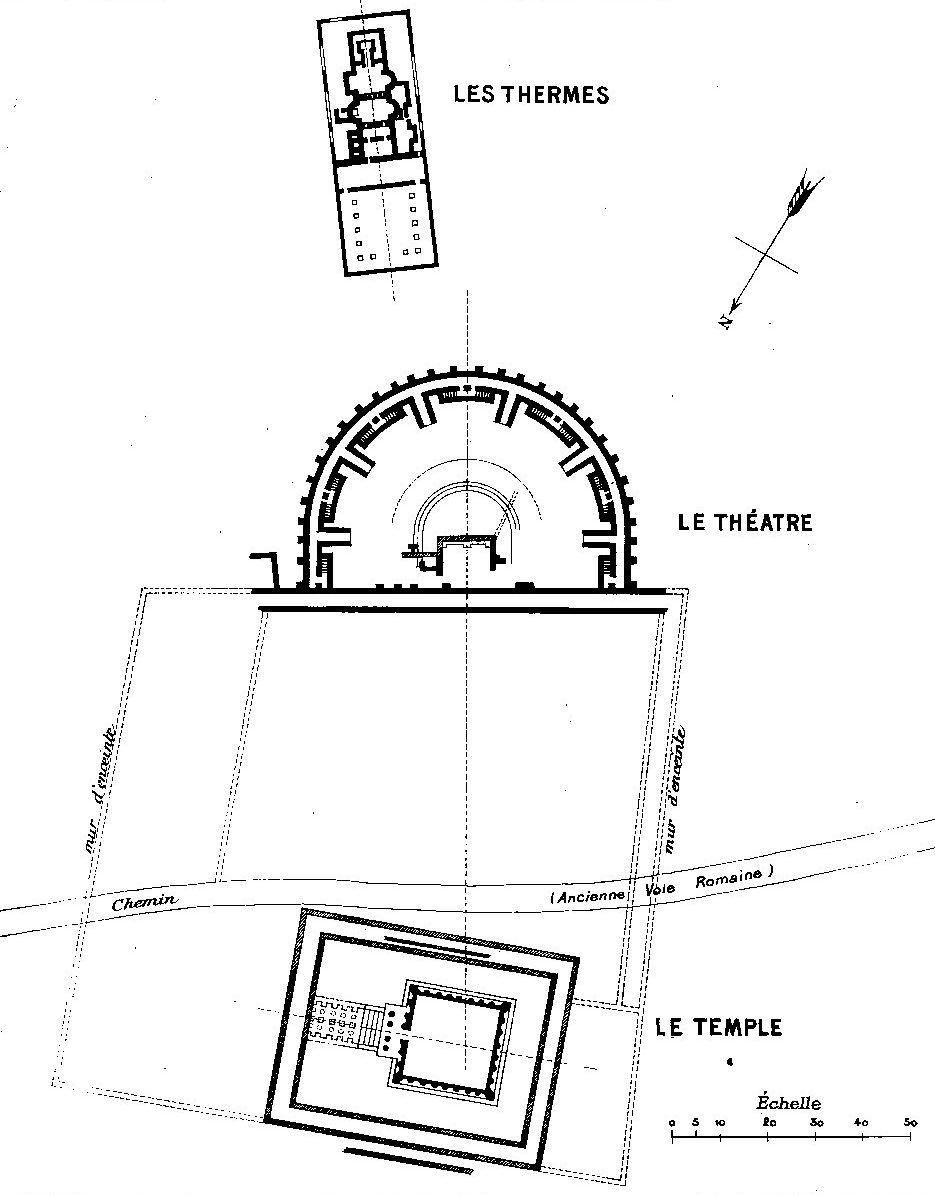 Orrouy (60), plan des masses des trois monuments gallo-romains de Champlieu, 1912.jpg