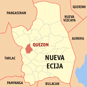 Map of Nueva Ecija showing the location of Quezon