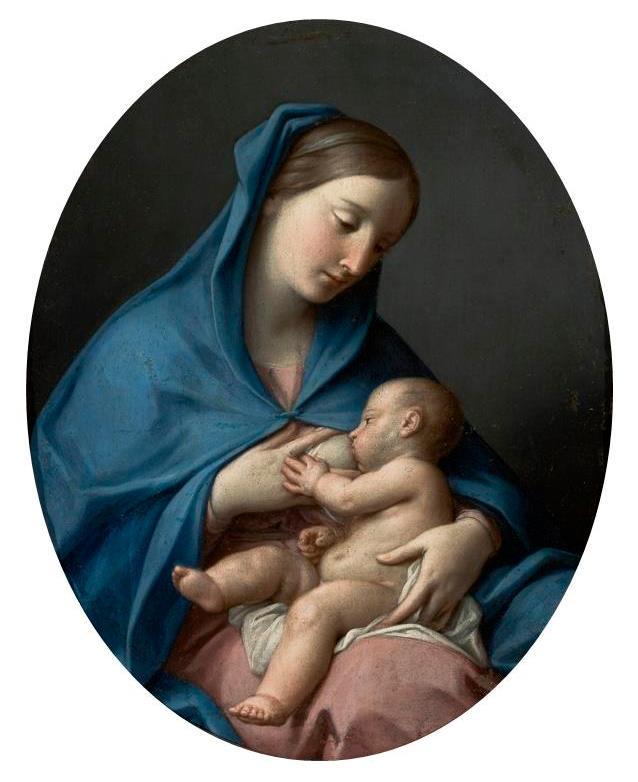 Pompeo Batoni (Public Domain) Vierge allaitant l'Enfant