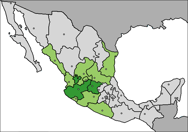 Production of tequila and agave in 2008: Dark green for tequila and light green for agave Produccion tequilera en Mexico (2008).png