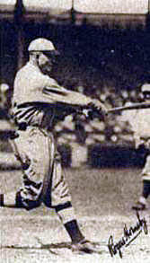 Rogers Hornsby (pictured on a 1922 baseball card) takes a swing.