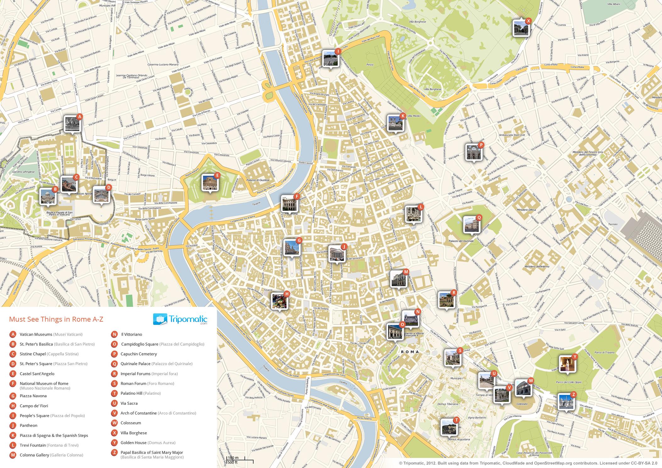 Description rome printable tourist attractions map