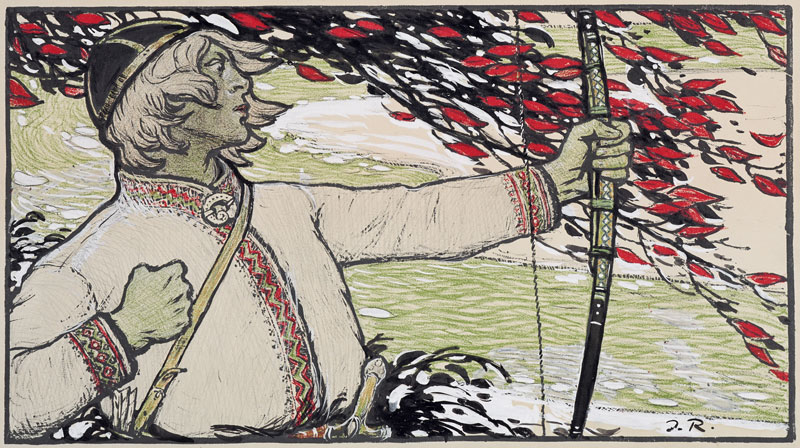 """""""Le tireur"""" ou """"Strēlnieks"""" (1915) de Janis Rozentāls au musée d'art national de Riga. Photo de N. Brasliņš."""
