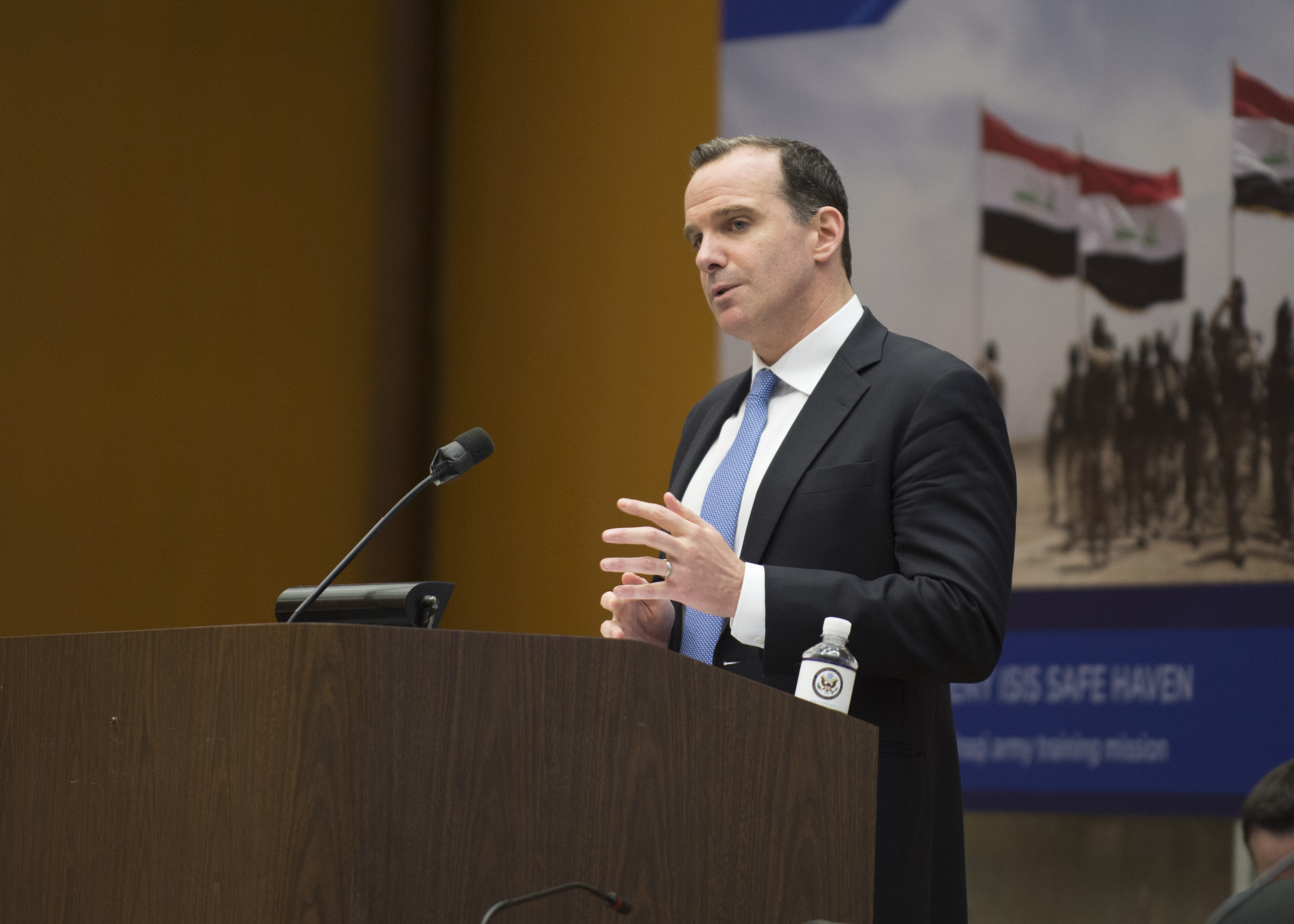 Special Presidential Envoy McGurk Addresses the Global Coalition to Defeat ISIS Small Group Meeting in Washington (35770757021).jpg