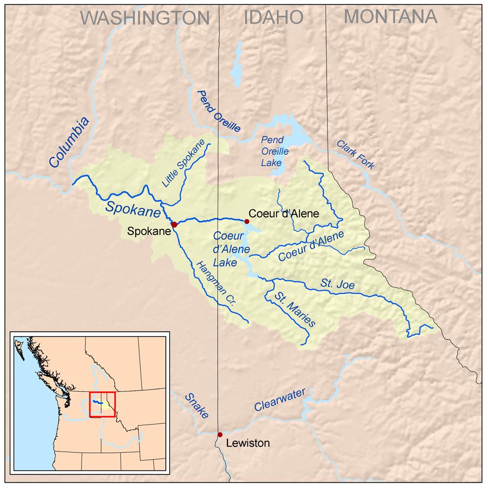 Spokane Elevation Map.Spokane River Wikipedia