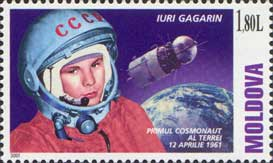 2001 stamp of Moldova shows Yuri Gagarin, the first human in space