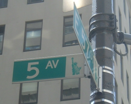Image:Street sign at corner of Fifth Avenue and E 57th Street in NYC.jpg