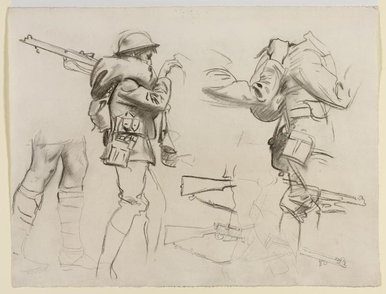 Study for 'gassed' studies of standing soldiers with rifles Art.IWMART161623.jpg