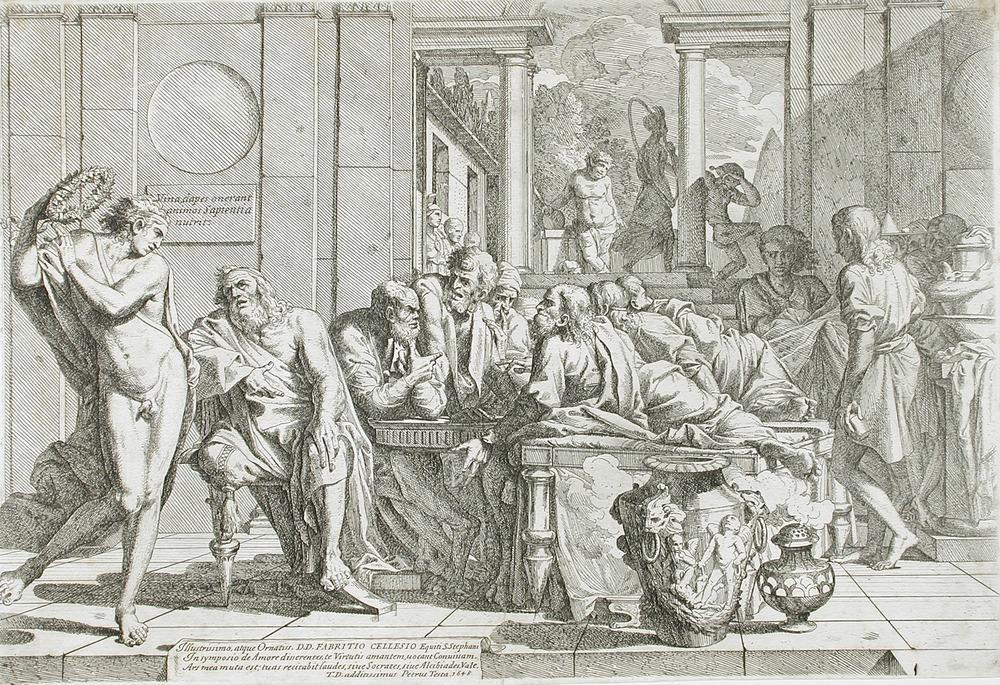 Pietro Testa - Alcibiade ubriaco interrompe il Simposio di Platone