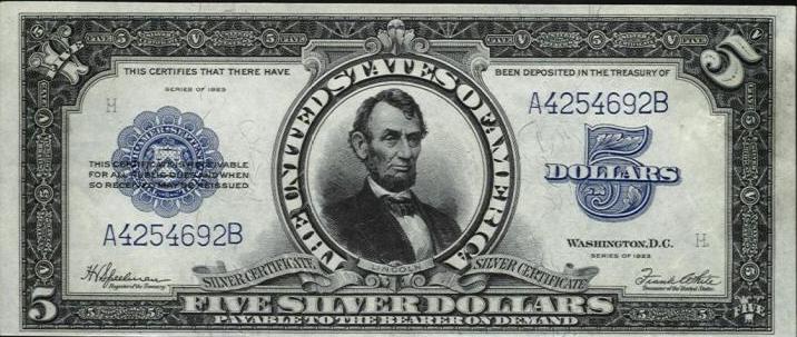 File Us 5 1923 Silver Certificate Jpg Wikimedia Commons