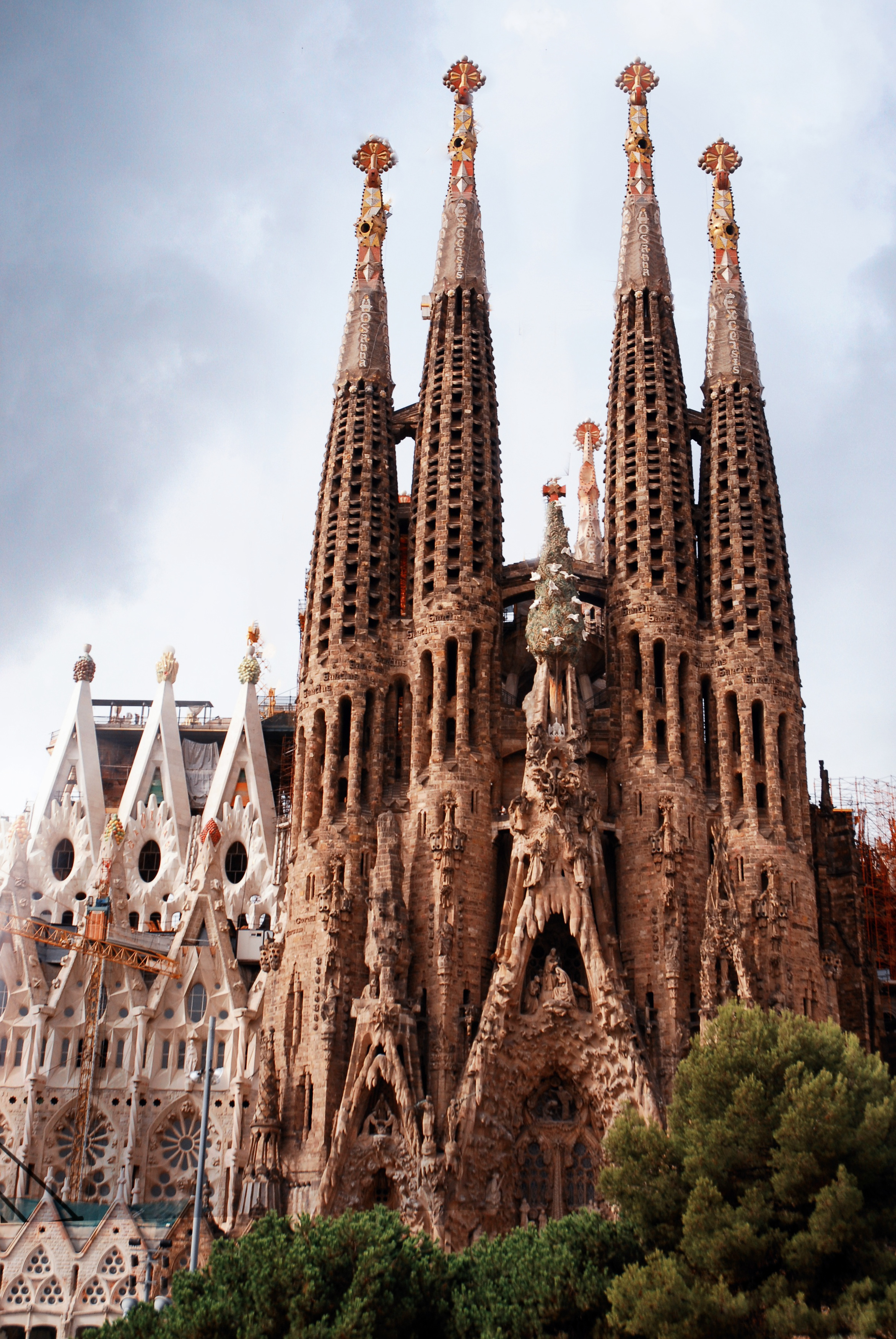 File view of nativity fa ade of basilica and expiatory for La sagrada familia barcelona spain