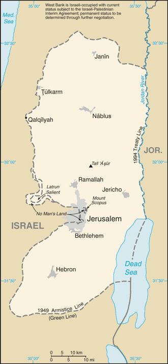 Zachodni Brzeg Jordanu - mapa