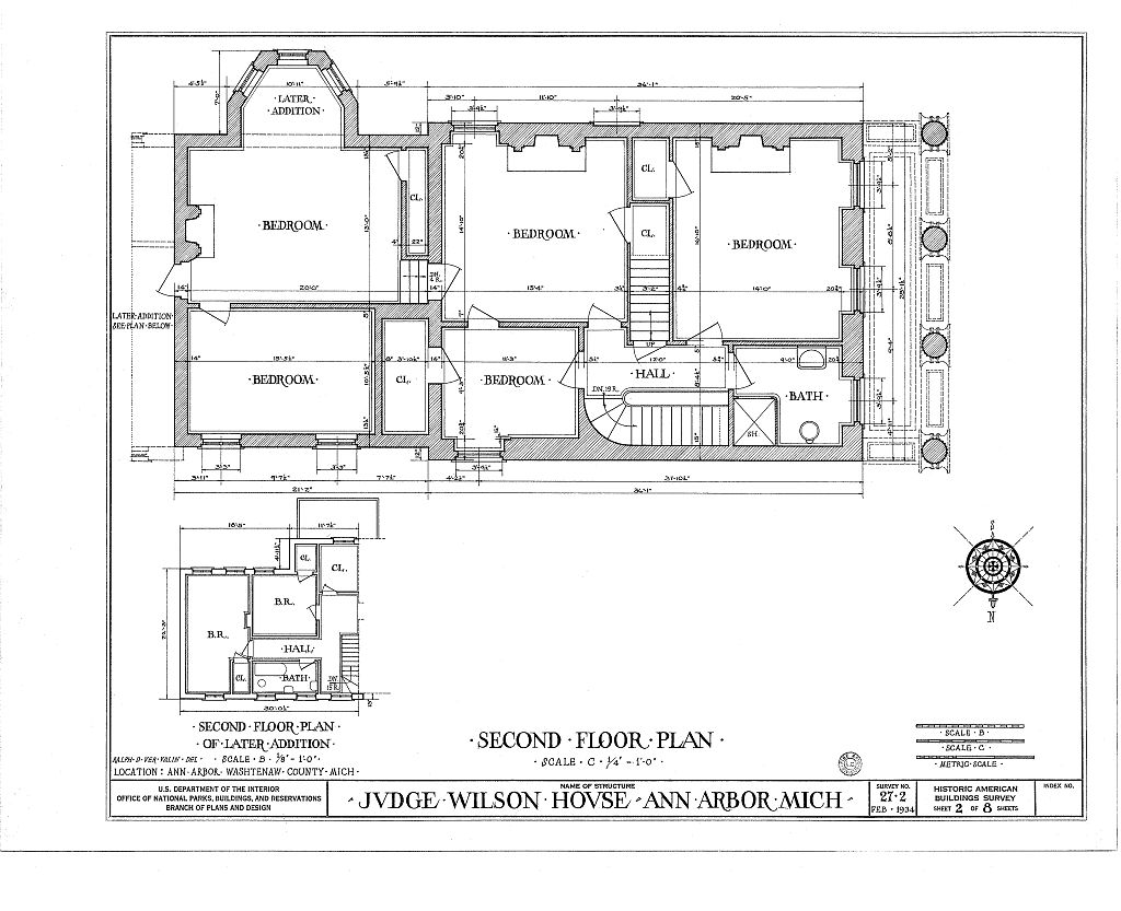 File Wilson House Ann Arbor HABS drg3 second floor plan
