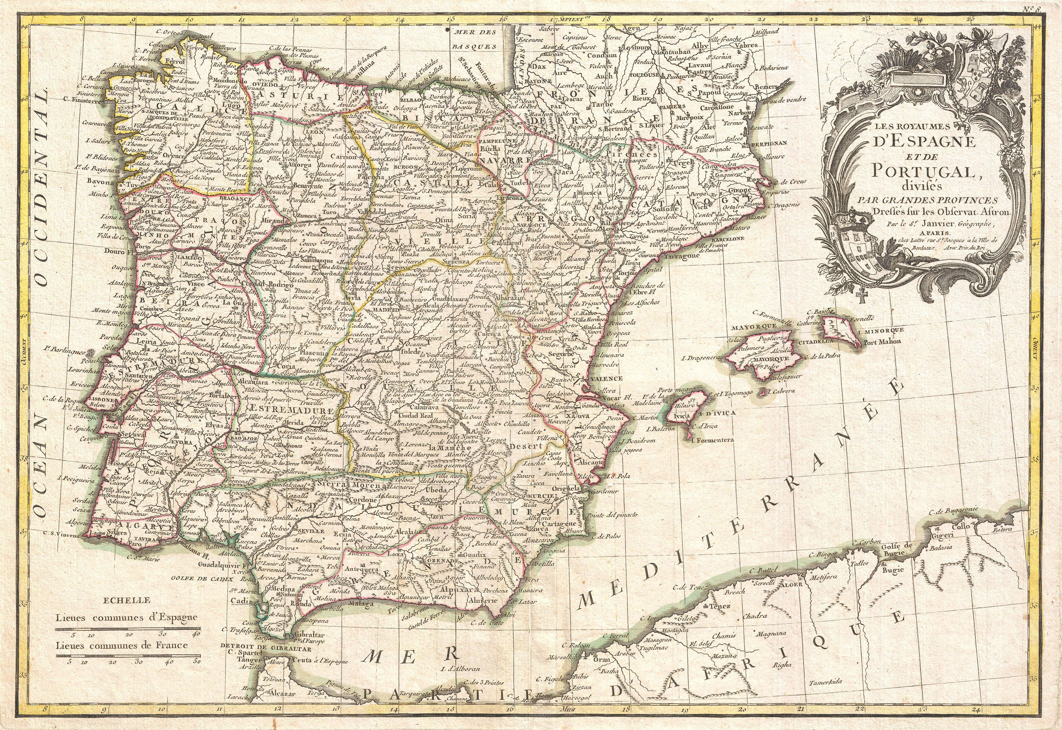 File Janvier Map Of Spain And Portugal Geographicus - Portugal map jpg