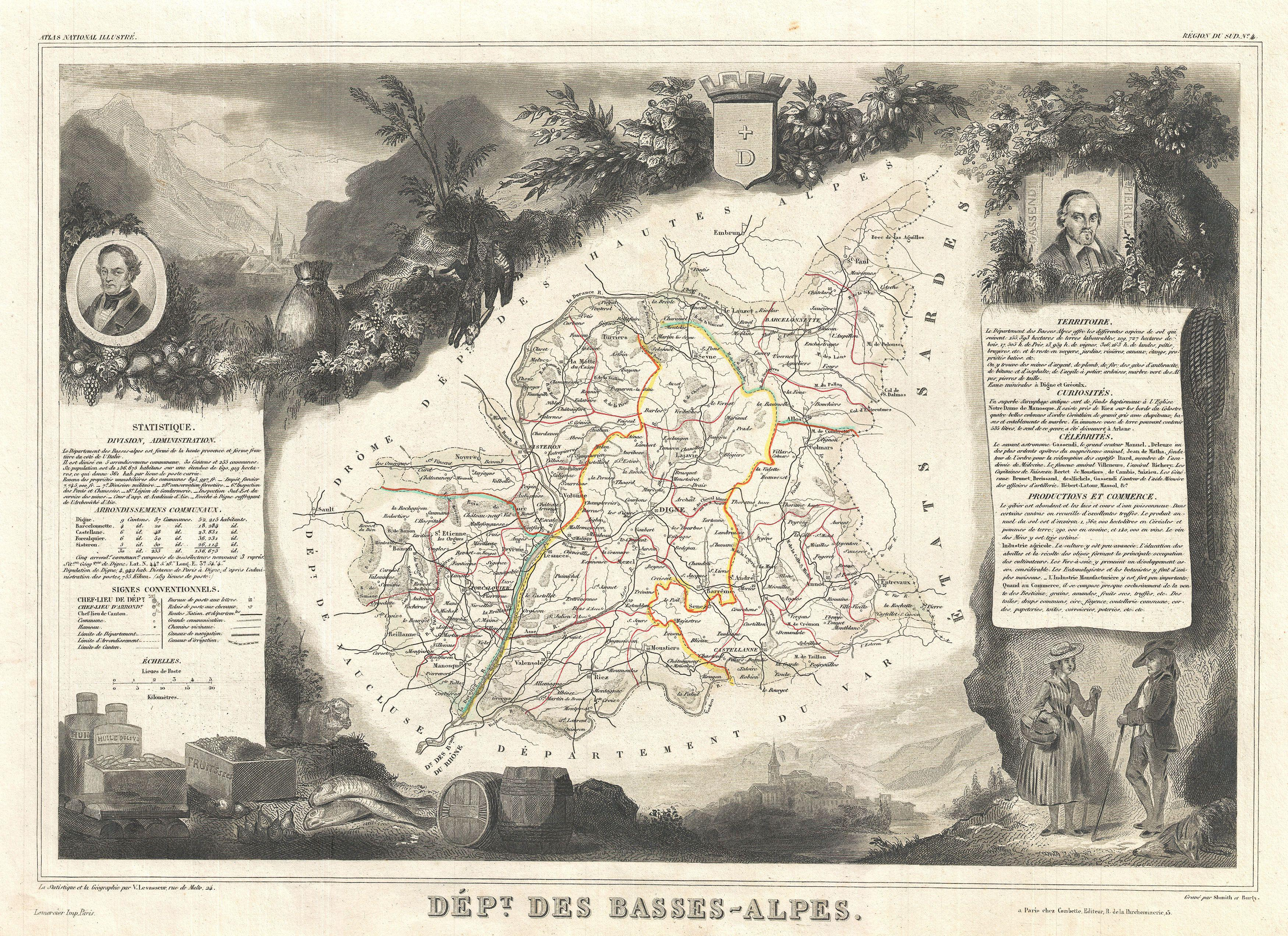 File:1852 Levasseur Map of the Department Basses-Alpes