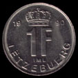 1 Luxembourgish franc 1990 coin reverse