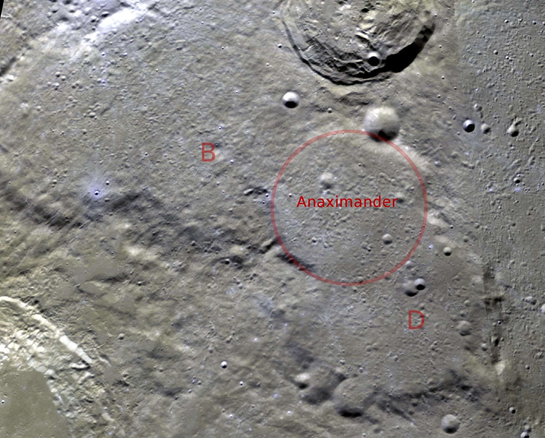 Anaximander crater clementine color albedo.jpg